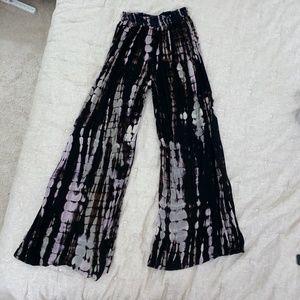 Black Tie Dye Ecote Flowy Pants